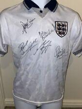 More details for signed england 1990 retro autograph home shirt gascoigne shilton gazza italia 90