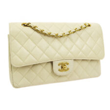 CHANEL Quilted CC Double Flap Chain Shoulder Bag 3370281 Beige Caviar A41122b