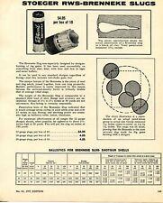 1972 Print Ad of Stoeger RWS-Brenneke Shotgun Slugs Ballistics Chart