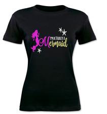 Ladies Women's Black T Shirt I'm Actually A Mermaid Print Glitter