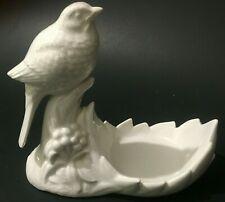 Fitz and Floyd Blanc de Chine White Porcelain Perched Sparrow Small Soap Dish
