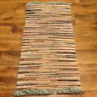 """Vintage Rag Rug Hand Made Multi-Colored Cotton Woven Knotted 42"""" Long X 21"""" Wide"""