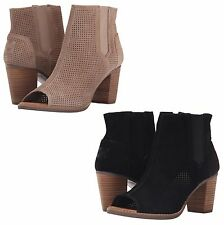 Toms Stucco Suede Perforated Majorca PEEP Toe BOOTIES HEELS Sandals Size 11