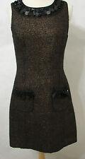 PLENTY TRACY REESE Bronze Wool Blend Sleeveless Sequin Bead Trim Dress NWOT 6