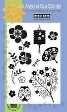 Clear Stamp CL228 Asian Elements Chinese Lanterns Cherry Blossom Owl SEE DESCPTN