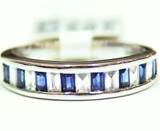 Designer 14K Solid Gold Natural Sapphire Diamond 1.19CT Engagement Wedding Band