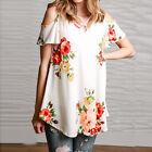 Femmes Floral Manche Courte Pantalon Baggy Col V Haut Chemise Tunique T-Shirt