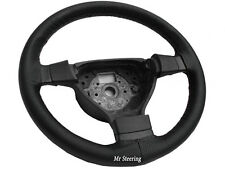 FOR FIAT MULTIPLA REAL BLACK PERFORATED LEATHER STEERING WHEEL COVER GREY STITCH