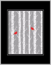 Red Gray White Home Decor Birds Silhouettes Birch Tree Wall Art Matted Print