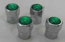 4 CHROME TPMS VALVE STEM CAPS N2 NITROGEN GREEN INSERT