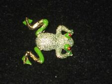 Vintage Gold and Green Enameled Frog Pin with Moveable Back Legs