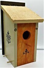 Modern Birdhouse~Designer Colors~Fleur-De-Lis~Burlap Roof~Home/Yard Decor