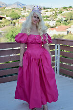Vtg 80s Pink Puffy Sleeve Prom Dress Party Usa Made 9/10 Vintage Retro Taffeta