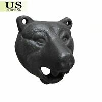 Cast Iron Wall Mount BLACK Bear Beer Soda Bottle Opener Pub Lodge Cabin Décor