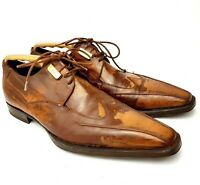 Cesare PACIOTTI Mens Formal Shoes Distressed Brown Refurbished UK 6.5 Leather