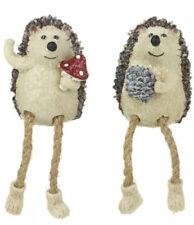 Set Of 2 Sweet Dangly Leg Sitting Christmas Hedgehogs With Pine cone & Mushroom