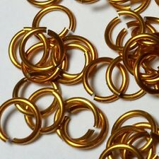 GOLD Anodized Aluminum JUMP RINGS 250 1/4 18g SAW CUT Chainmail chain mail