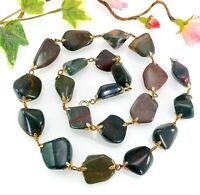 Vintage Chunky Polished Green Agate Jasper Bead Necklace