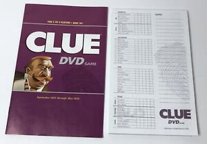 '06 Clue DVD Game Board Instructions & Cluepad Replacement Parts Pieces Hasbro