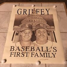 1990 BASEBALL'S FIRST FAMILY Ken Griffey Jr, Griffey Sr. Poster 23X29 Mariners