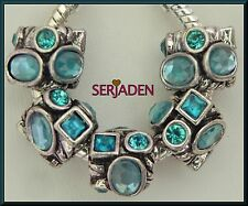 5 Multi Shape Aqua Stones Antique Silver fits European Style Charm Jewelry R163