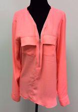 Double Zero Blouse Top Shirt Long Sleeved 1/2 Zip Chiffon Style Women's Size M