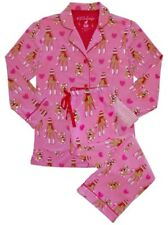 187f2d4171 PJ Salvage Flannel Pajamas Set M Pink Sock Monkey Hearts Dog 2pc Ship