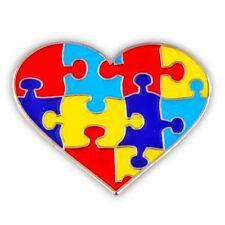 Autism Lapel Pin Tac Tack Asperger Awareness Colored Puzzle Piece Heart New