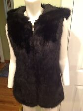 Mad Bomber Black Acrylic Fur Beutiful Vest With Hood Size M NWOT
