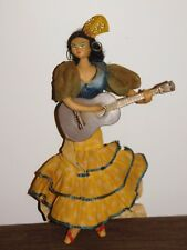 "VINTAGE TOY 12"" HIGH SPANISH FLAMENCO DANCER GIRL PLAYING GUITAR DOLL"