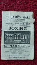 BOXING PROGRAMME - JOHNNY MOLLOY V ALEX SINNAEVE- ST.JAMES HALL NEWCASTLE  1949