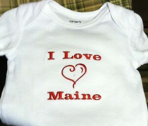 I Love Maine Baby Bodysuit  Embroidered