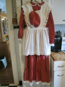 Women's Colonial Pioneer Prairie Civil War Dress Apron Bonnet
