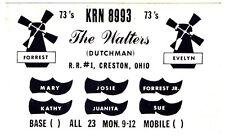 Vintage Windmill Wooden Shoe Postcard QSL Card Amateur CB Ham Radio Creston Ohio