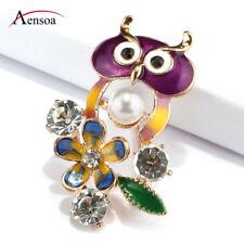 Bird Brooch Pins Girls Buckle Jewelry Women Enamel Crystal Pearl Flower Cute Owl