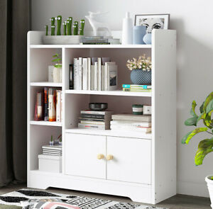 6 Cube Storage Bookcase Unit Shelf Home Office Organiser Display Box W/ Door UK
