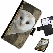 OWL03 OWL HEAD PRINTED LEATHER WALLET/FLIP PHONE CASE COVER FOR ALL MODELS