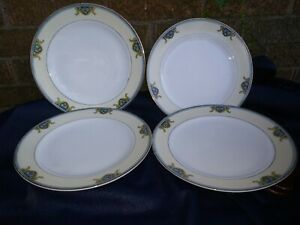 """SET OF 4 MEITO CHINA FLORAL  DINNER PLATE 9 7/8""""  HAND PAINTED  JAPAN"""