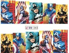 Captain America Superhero Nail Stickers - Water Decals Nail Art Nail Wrap Nail D
