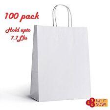 "100pk 10""x5""x13"" Wholesale White Paper Shopping Bags Handles 7.7Lbs Retail Party"