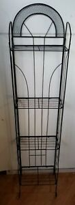 "Vintage Deco Black Metal Folding 4-Tier Shelf Display Plant Stand 58"""