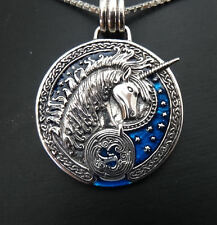 Magical Celtic UNICORN pendant - 925 silver & marine blue enamel by Peter Stone
