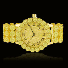 Real Diamond Gold Canary Custom Flower Roman Dial Men's Watch W/Date Ice House