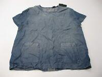 new CLUB MONACO Women's Size L Boxy Pocket Stone Wash Blue Chambray Denim Blouse