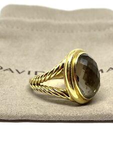 David Yurman Signature Albion  Oval Smoky Quartz Ring Solid 750 18k Gold Size 10