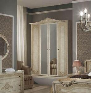 Kleiderschrank Elena 4-türig in Beige Barock Design