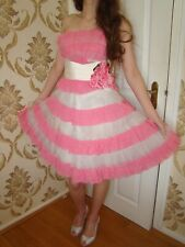 Vestido de Boda diseñador impresionante Noche Fiesta Baile de graduación Betsey Johnson razas Talla 10