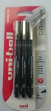 Uniball Pin Dibujo Bolígrafo Negro Paquete de 3 - 0.1mm. envío Gratis