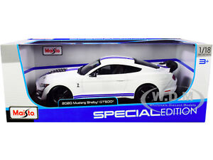 2020 FORD MUSTANG SHELBY GT500 WHITE 1/18 DIECAST MODEL CAR BY MAISTO 31452