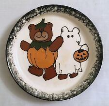 HALLOWEEN PIE PLATE Cute Bears in Costumes Signed Black & White Spongeware 9.5""